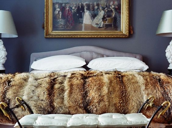 Dior gray walls, painting over bead, fur blanket