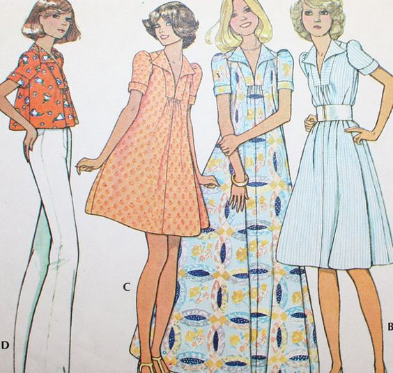 Vintage 70s Dress or Top Sewing Pattern by claudettesvintage, $7.50...I remember this from my teens