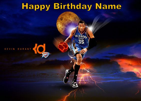 Oklahoma City Thunder Basketball Kevin Durant Edible Image Cake Topper Personalized Custom 1 4 Basketball Wallpaper Sports Wallpapers Basketball Wallpapers Hd