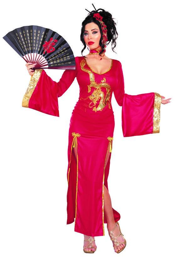 Kostüm Geisha, langes Kleid rot-gold
