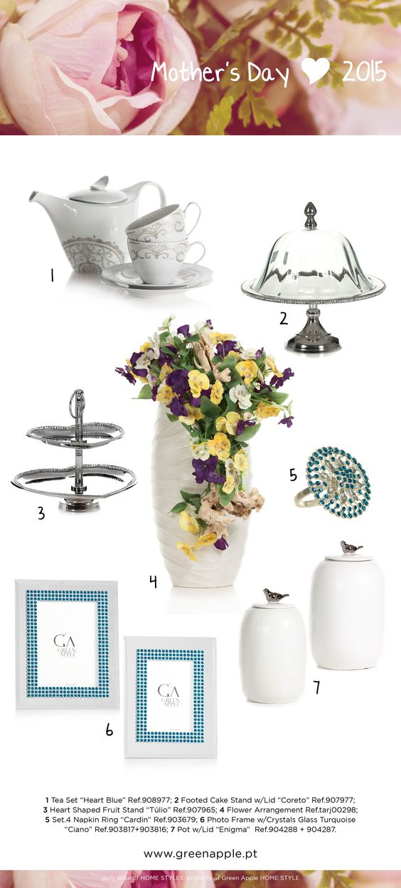 Green Apple HOME STYLE ♥ Mother's Day 2015 #InspiringCollections #InteriorDecoration #Furniture #Portugal #Spring #MothersDay #White #Silver #Blue #Purple #Yellow