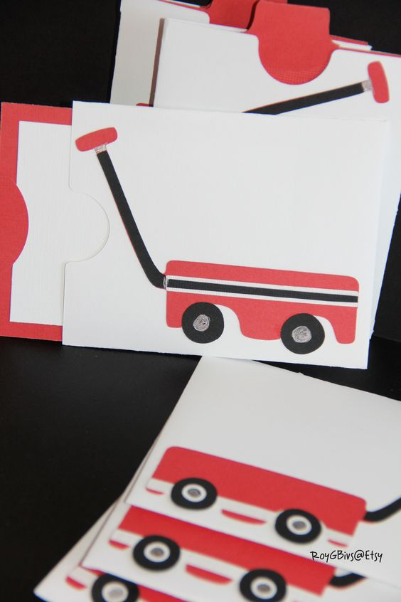 Radio Flyer Red Wagon Boy 3rd Birthday Invitations Pocket Cards