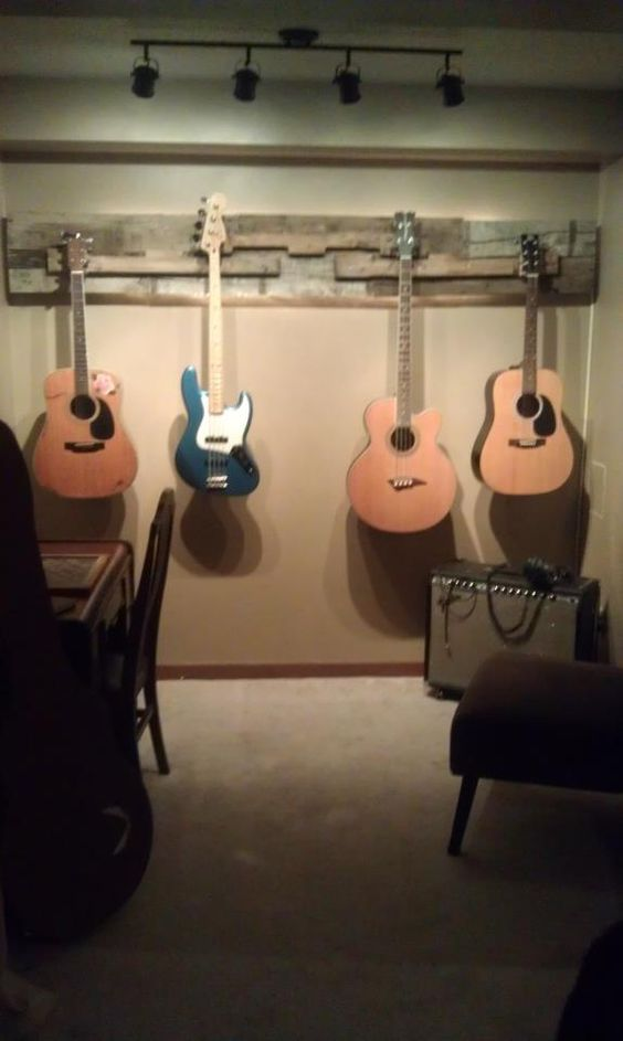 Guitar wall hanging made out of a pallet backlit with - Lights to hang on wall ...