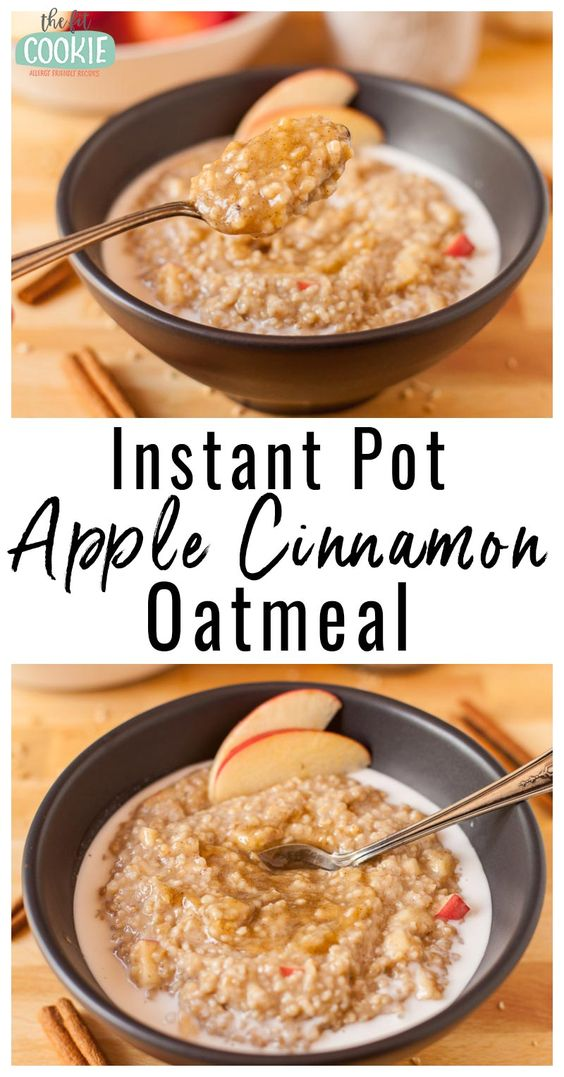 Whip up a hot breakfast in your pressure cooker with this delicious Instant Pot Apple Cinnamon Oatmeal! This is made with hearty steel cut oats, and is gluten free, dairy free, and peanut free. | thefitcookie.com #dairyfree #vegan #glutenfree #instantpot #pressurecooker