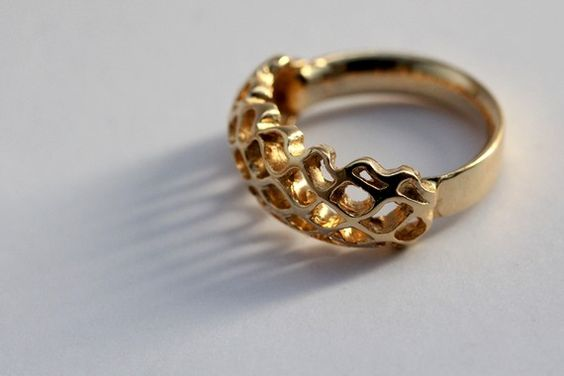 gold bee hive ring