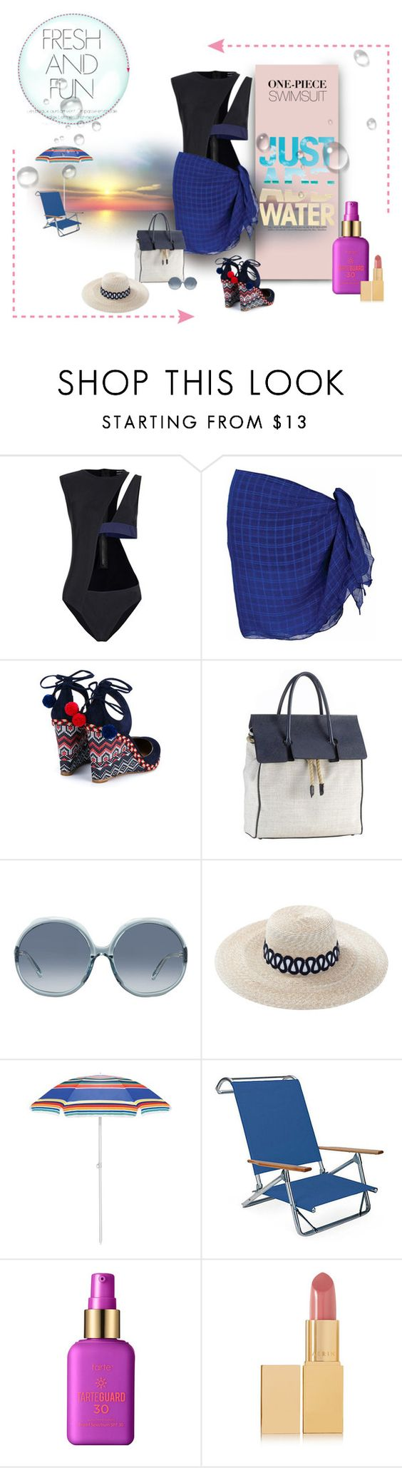 """""""Drops of Delight"""" by michelletheaflack ❤ liked on Polyvore featuring Anthony Vaccarello, Aquazzura, Mark/Giusti, Linda Farrow, Eugenia Kim, Picnic Time, tarte, AERIN, onepieceswimsuit and polyvorecontests"""