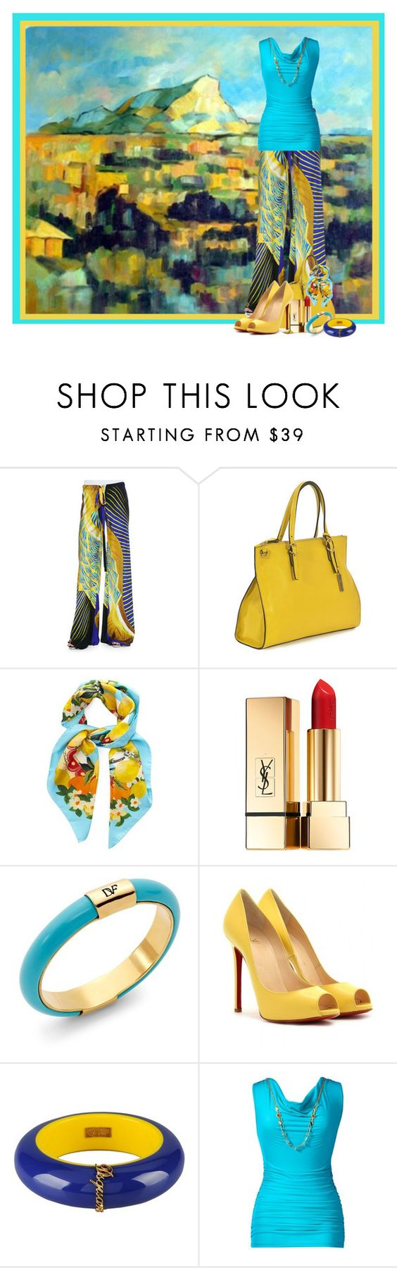 """""""City Limits by Cezanne - French Masters Mimicry"""" by flowerchild805 ❤ liked on Polyvore featuring Roberto Cavalli, RABEANCO, Dolce&Gabbana, Yves Saint Laurent, Diane Von Furstenberg, Christian Louboutin, Dsquared2 and Thalia Sodi"""