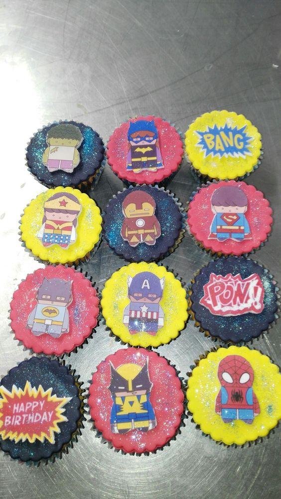 Cupcakes fondant súper héroes