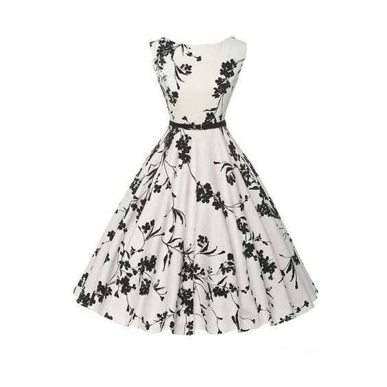 Sleeveless Vintage Tea with Belt Dress (€28) ❤ liked on Polyvore featuring dresses, tea dress, vintage day dress, vintage tea dress, white dress and belt dress