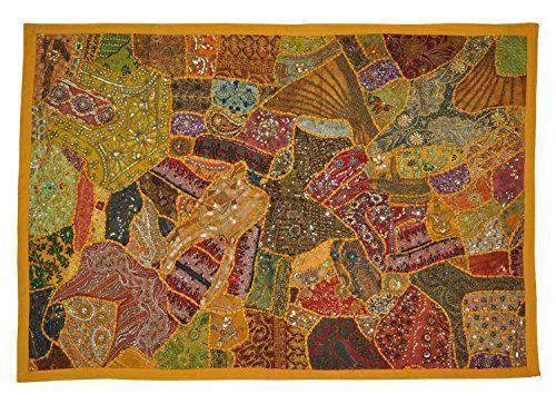 Indische Designer HängewandteppicheWall Tapestry Patchwork Design & Stickerei & Old Sari Patchwork, 152 X 102 Cm Rajasthali http://www.amazon.de/dp/B00PFSCBXG/ref=cm_sw_r_pi_dp_P1DZvb1VR9Y5C