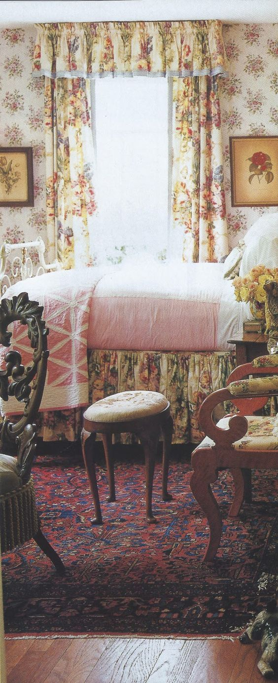 Betsy Speert bedroom, fabric by Rose Cummings chosen in 1986, when NO ONE was selling cabbage roses. photo by Eric Roth