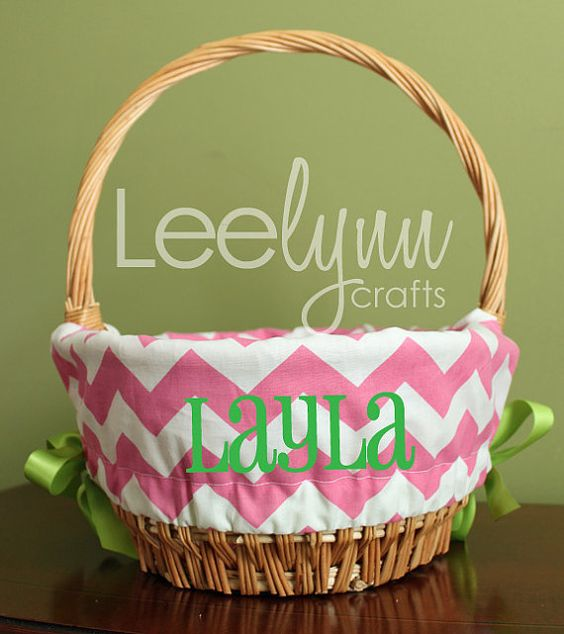 Personalized Easter Basket Liner Pink Chevron By
