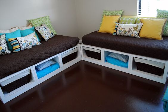 DAYBEDS - great organization and pops of color!  so organized!!