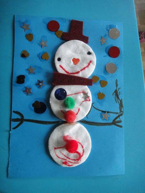 Nathalie assistante maternelle bonhomme de neige et coton la mani re de pinterest for Combricolages noel maternelle