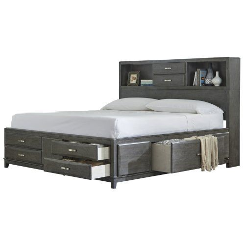 King Cal King Storage Hdbd Bookcase Bed Storage Bed Queen