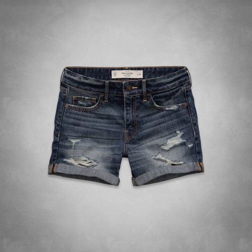 A&F BOYFRIEND SHORTS DESTROYED DARK WASH FLAGSHIP EXCLUSIVE (high rise, midi). Ive been looking for high rise shorts that have an inseam longer than 1 1/2 :P and these are perfect:) <3<3<3<3<3<3 especially for the beeaaachh!!!!! <3<3<3<3 #need