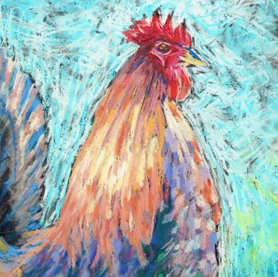 Original Soft Pastel Painting of a Proud Rooster. Rooster Pastel Painting. Rooster Wall art, Bird painting, Bird drawing. Rooster drawing. by JoLArts on Etsy
