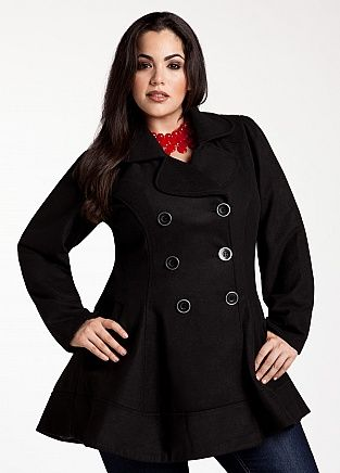 Ashley Stewart: Wool Blend Double Breasted Peplum Peacoat  Plus Size Model Nicole Zepeda