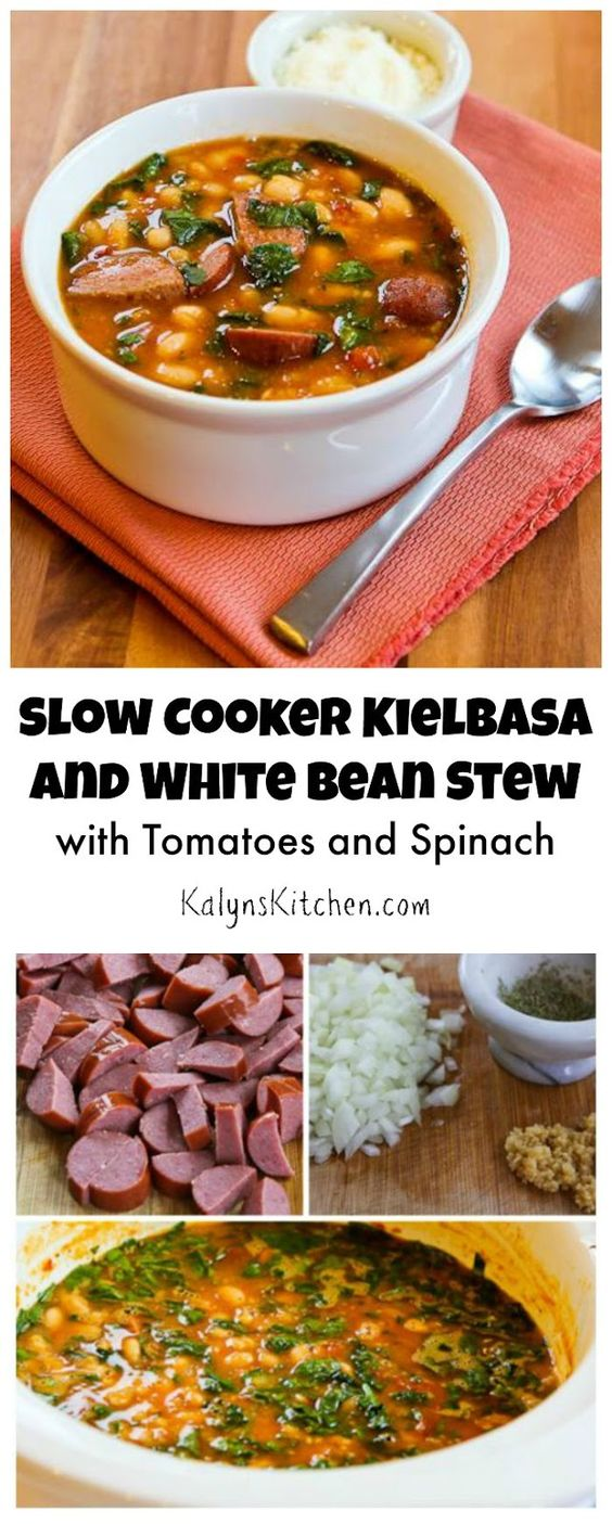 This Slow Cooker Kielbasa and White Bean Stew Recipe with Tomatoes and ...
