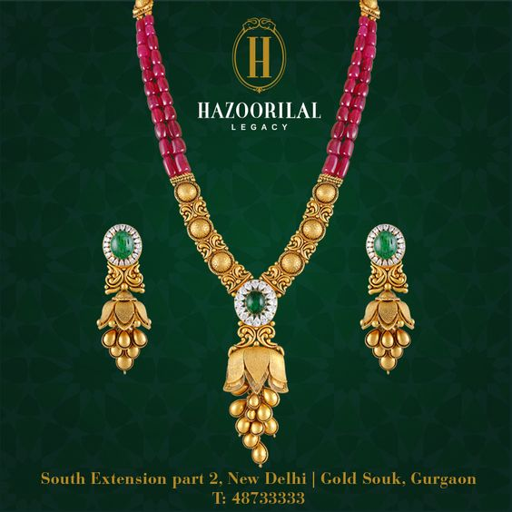 #TheGoldenEssence: Weaved together with precious rubies & emeralds, the gold necklace and earrings from #HazoorilalLegacy radiate profound purity and magnify every traditional ensemble