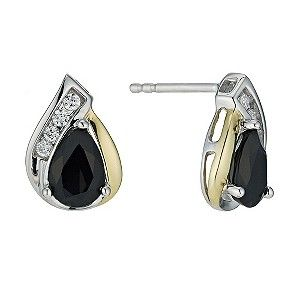 Silver & 9ct Yellow Gold Teardrop Sapphire Stud Earrings - Product number 9242449