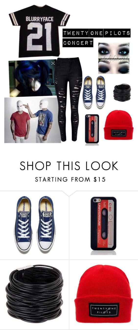 """""""Twenty one pilots concert"""" by skaterlawson ❤ liked on Polyvore featuring Converse, Saachi and WithChic"""