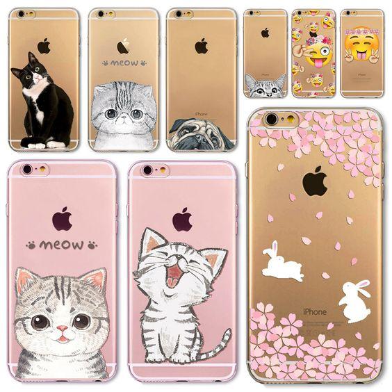 Für Apple iPhone 6 6 S 5 5 S SE 6 Plus 6 sPlus 5C 4 4 S Weichem Silikon Transparent Telefon Fall Abdeckung Nette Katze Kaninchen Emojio Telefon Capa