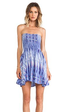 Surf Gypsy Tie Dye Strapless Mini Dress in Blue | REVOLVE