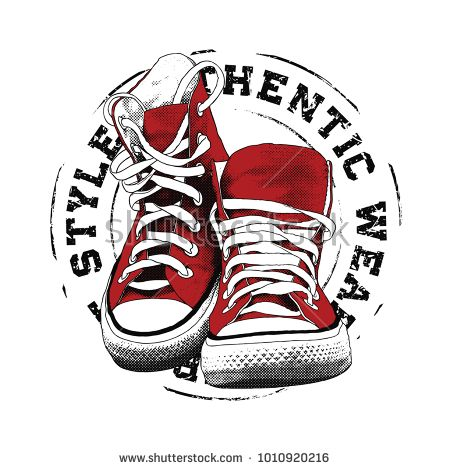 Sneakers illustration for t shirt. College style pair of