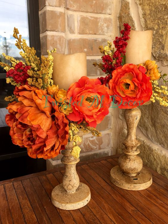 Burnt orange arrangement. Candle stick hand painted, glazed and waxed. Flameless candle aged and distressed.