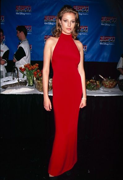 supermodel Bridget Hall wearing red at the 1997 ESPY awards