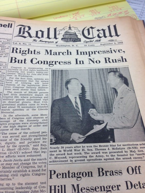 "Congress is maneuvering uncertainly on civil rights legislation following last week's highly successful ""March for Jobs and Freedom"" in Washington. For the first time, opinions are being expressed that the unique form of lobbying will boost changes of the legislation. Roll Call, Sept. 4, 1963. #mow50 #marchonwashington #civilrights"