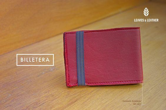 Billetera de Piel color rojo