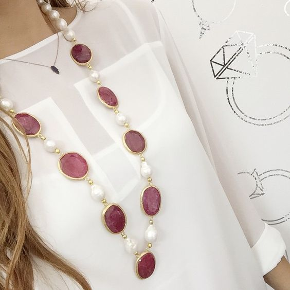 #BaroqePearl #Baroque #Ruby #Rubies #PreciousStone #StatementNecklace #PearlNecklace #Njewels