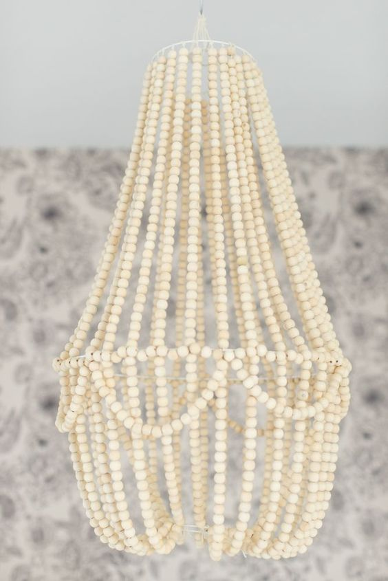 DIY wood bead chandelier: