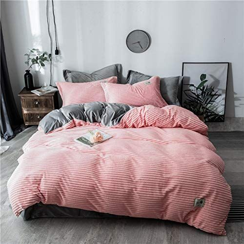 Jiaohj Coral Velvet Warm Quilt Cover Bed Sheet Pillowcase Winter