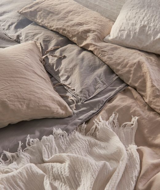 The Natural Airy Feel Is Added To With The Natural Color Shades Of Puderviva Bed Linen Bed Linen Design Neutral Bed Linen Bedding Inspiration