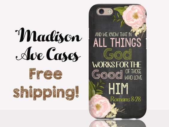 All Things God Works For The Good Of Those Who Love Him Romans 8:28 Jesus Christian Quote Flower Chalkboard Samsung iPhone Case 6 Plus Tough