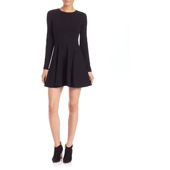 Theory Tillora Long-Sleeve A-Line Dress ($330) ❤ liked on Polyvore featuring dresses, apparel & accessories, black, black dress, long dresses, black flared skirt, black fit and flare dress and long sleeve dresses