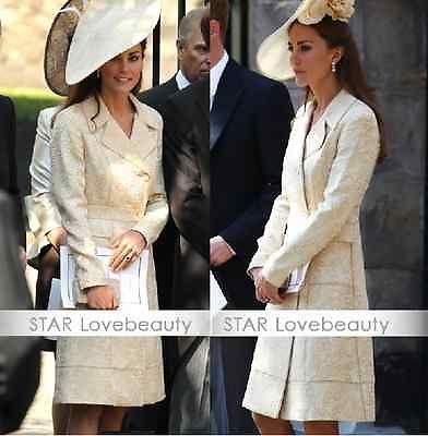 Kate Middleton Slim long-sleeved beige windbreaker coatretro jacquard jacket
