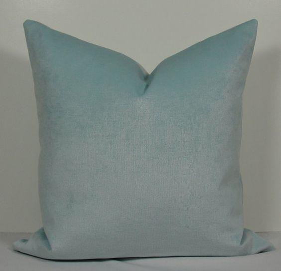 French Blue Throw Pillows : Spa blue velvet pillow cover BOTH SIDES chenille throw pillow-french blue-aqua designer pillow ...