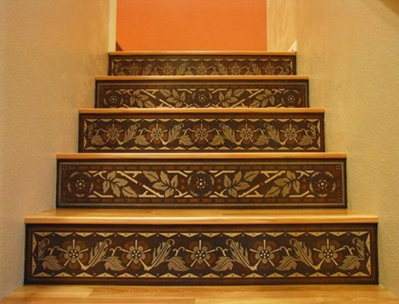 Faux Wood Inlay Stair Risers Table Idea Pinterest