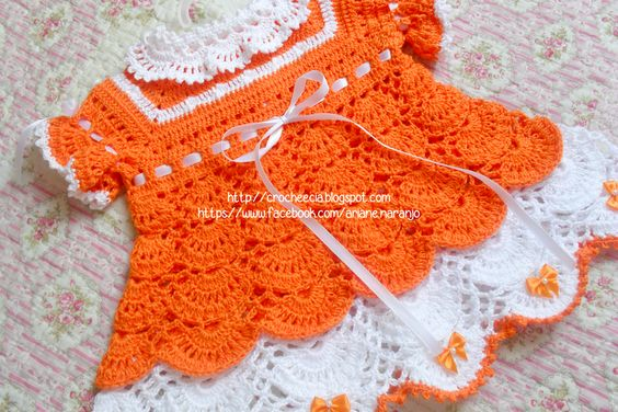 Croche e Cia: Vestido Laranja e Branco de Croche