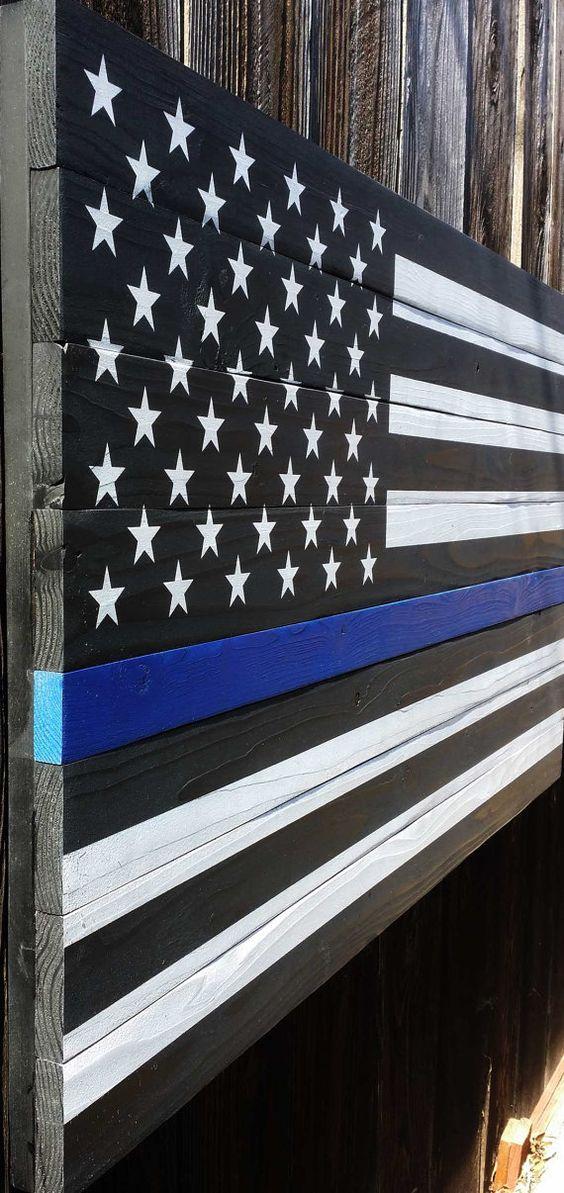 Thin Blue Line American wood flag by WestCoastPatriot on Etsy