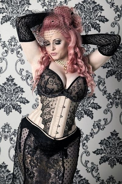 Lace and netting and pink hair and a corset. Divine.
