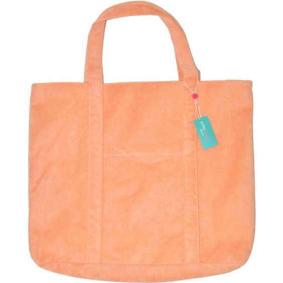 Echo Creamsicle Terry Beach Tote ($15) ❤ liked on Polyvore featuring bags, handbags, tote bags, tote purses, red tote purse, red purse, beach tote and red tote handbags
