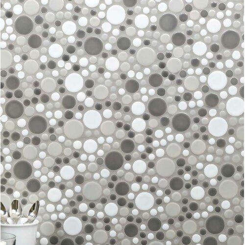 Mosaictileoutlet Penny Round Bubbles Random Sized Ceramic Mosaic Tile In Gray White Wayfair Tile Floor Bathroom Inspiration Decor Mosaic Tiles