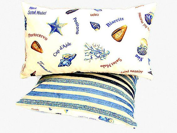 Coastal sea reversible lumbar throw pillow sham  12x20 by SABDECO