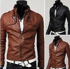 Men Clothing Slim Fit Stand Collar Motorcycle  Synthetic Leather Jacket Outwear: