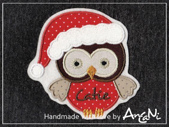 Aufnäher - Aufnäher Weihnachtseule mit Namen ♥ Weihnachten - ein Designerstück von AnCaNi bei DaWanda